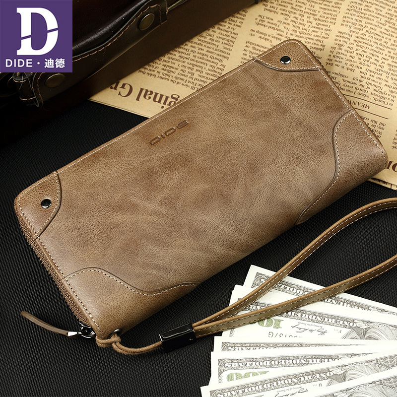 DIDE Genuine Leather Long wallet men's handbags clutch Organizer Wallets male Zipper Large capacity clutch bag Dropshipping 699