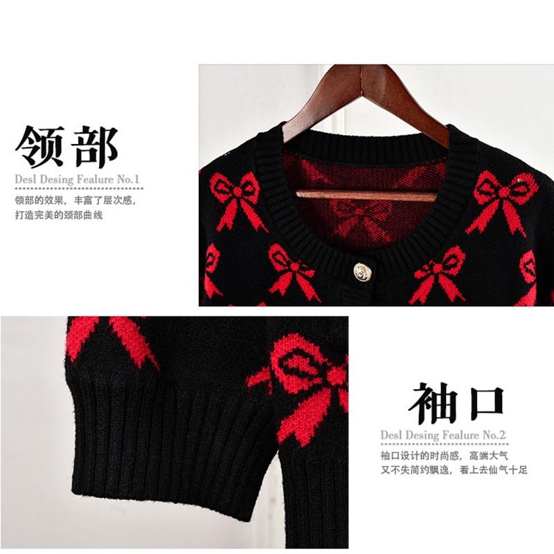 Pour Cardigans Designer Tricoté Tricotés De V Cou Femmes Luxe Chandail Arc Rouge Marque wFaX4q6x