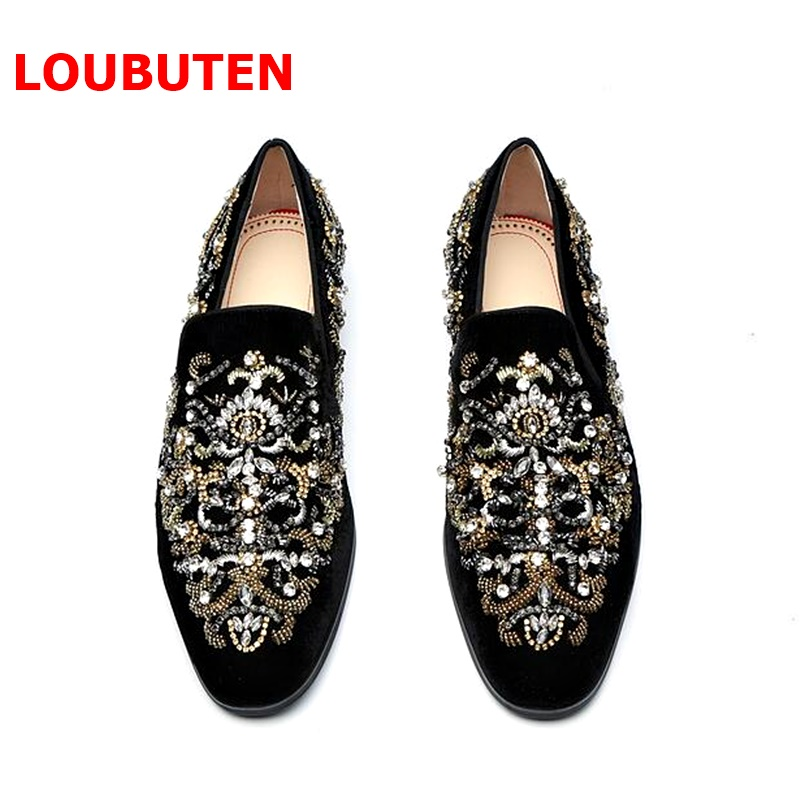 LOUBUTEN Black Suede Mens Shoes Luxury Handmade Slip On Crystal Rhinestone Beading Men's Loafers Men Prom And Wedding Shoes new arrived royal blue rhinestone mens loafers luxury fashion slip on men suede shoes handmade men s wedding and prom shoes