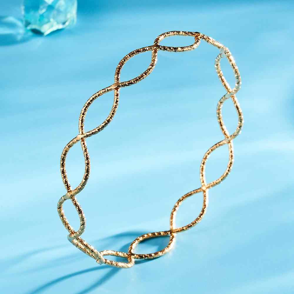 Różowe złoto gładkie okrągłe powierzchni Patchwork plac Hollow skręcone tłoczone bransoletka kobiety mężczyźni prosta bransoletka Metal bransoletka biżuteria