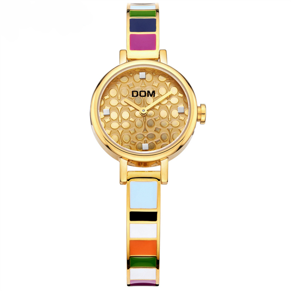 DOM women watches luxury brand quartz wrist watch fashion casual gold stainless steel style waterproof G-1019 Gold 2016 new ladies fashion watches decorative grape no word design gold watch stainless steel women casual wrist watch fd0107
