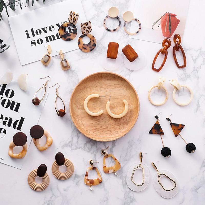 AOMU 2019 Korea Fashion Caramel Leopard Resin Acrylic Acetic Acid Geometric Round Square Dangle Earrings For Women Party Jewelry