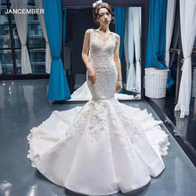 J66685 jancember satin wedding dress mermaid v-neck sleeveless trumpet bridal 2019 lace up back vestido de novia sirena