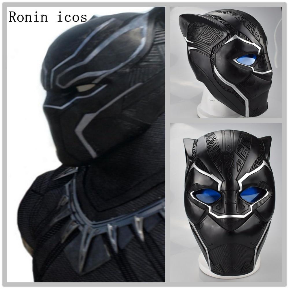 Handmade Black Panther Mask Helmet Cospaly T'Challa Wakanda Superhero Black Panther Masks The Avengers Halloween PVC Mask Props