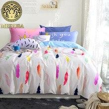 Pluma de impresión juego de cama de algodón rey queen size edredón/fundas de almohada funda nórdica sábana ropa de cama conjunto
