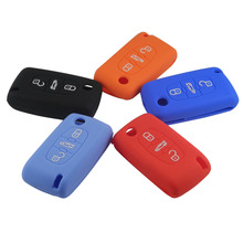 Silicone Cover fit for CITROEN C2 C3 C4 C5 C6 Picasso Remote 3 Buttons Key Fob Case 3 BTN