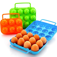 Hot Portable Carry 6/12 Eggs Container Holder Storage Box Case Folding Plastic box 4 colors