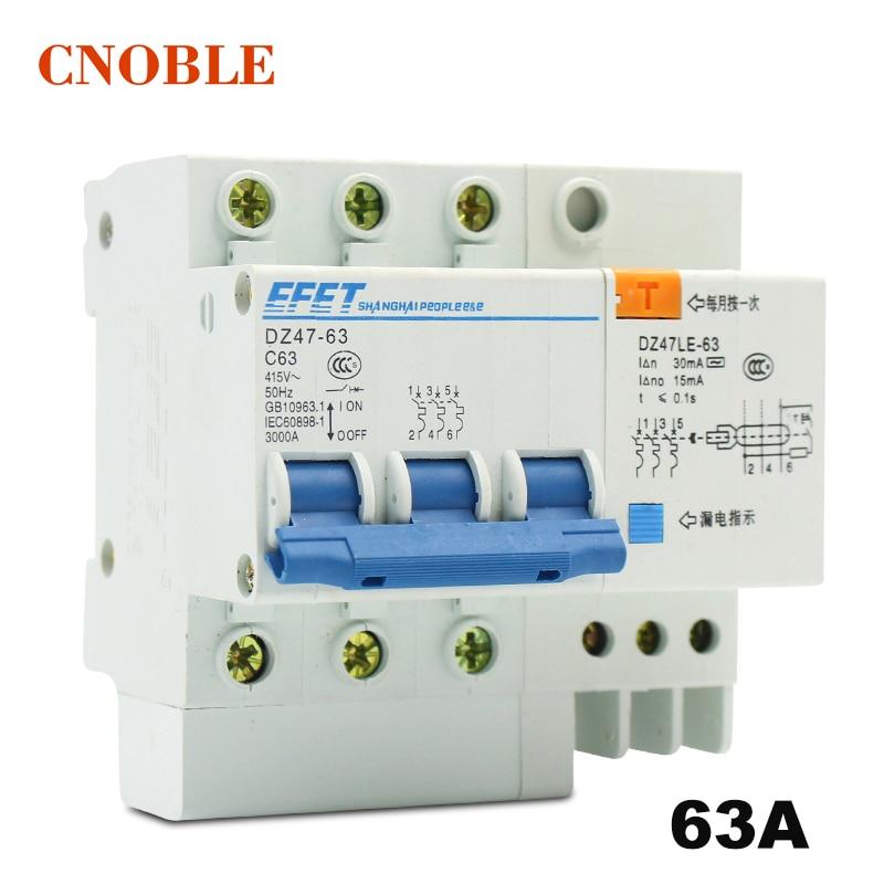 Wholesale DZ47LE 3P+N 63A 380V Small earth leakage circuit breaker DZ47LE-63A Household leakage protector switch RCBO dz47le 3p n 40a 30ma 230 400v small leakage circuit breaker dz47le 40a household leakage protector switch