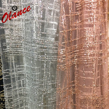 Hot sale pure color Vertical stripe design Full Glued Glitter Sequins Nigerian Lace ZP3,Free Shipping French Net Fabric