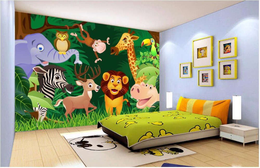 US $13.93 50% OFF|Benutzerdefinierten wandbild foto 3d tapete kinderzimmer  cartoon waldtiere dekoration malerei 3d wandbilder wallpaper für wände 3 ...