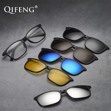 Optical Spectacle Frame Men Women Spring Hinge TR90 With 5 Clip On Sunglasses Polarized Magnetic Glasses Eyeglasses QF124