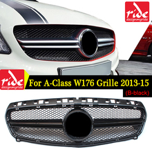 W176 Front Mesh Grille ABS Black Suitable For M-B A-CLASS A180 A200 A250 A45AMG 2013-15 Without Emblem Bumper