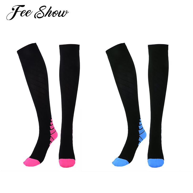 1 Pair Unisex Men Women Graduated Compression Stockings for Running Medical Athletic Lightweight Gym Fitness Training Stockings