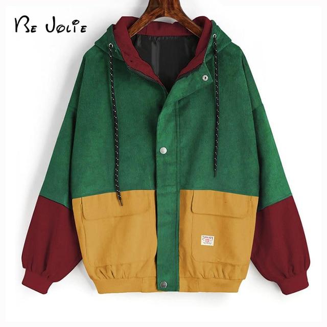 2018 Autumn Winter Coat color block Long Sleeve Corduroy Women jacket Patchwork Jacket  jeans jacket women plus size women coat