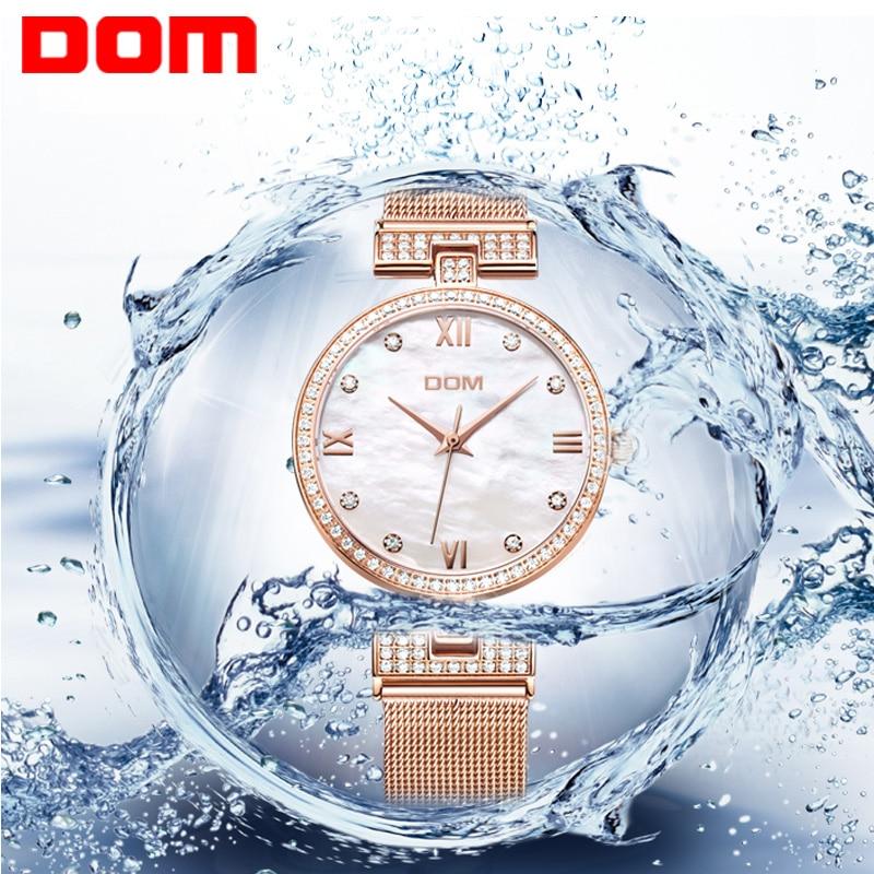 ФОТО DOM Fashioln Geneva Women Watch Gold Watch Women Brand Luxury Female Mesh steel belt Quartz Watches for Women Relojes Mujer 2017