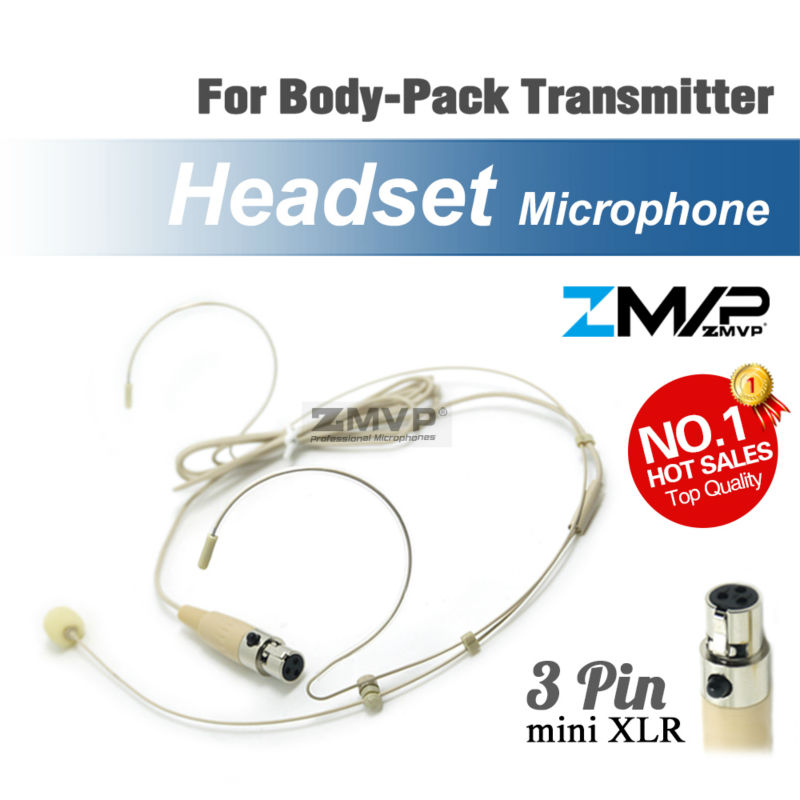 Free Shipping! Condenser Headworn Headset Microphone With Mini 3 Pin XLR TA3F Connector For Shure Wireless Body-Pack Transmitter