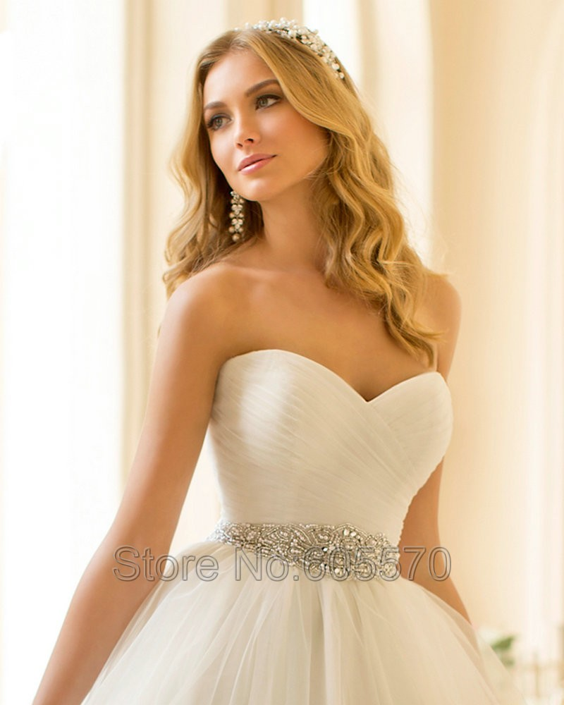 Princess Wedding Dress 2016 Organza Sweetheart Wedding Dress Crystal ...