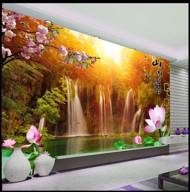 3d Wallpaper 3d Soft Mural Waterfall Landscape Lotus For