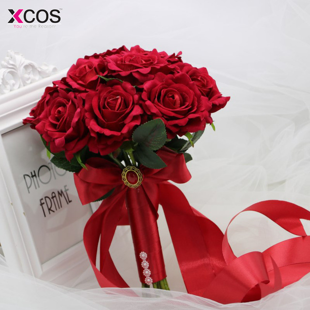 XCOS 2018 Artificial Foam Flowers Foam Roses For Wedding Arrangement Bridal Bouquet Hot Red Wedding Bouquets