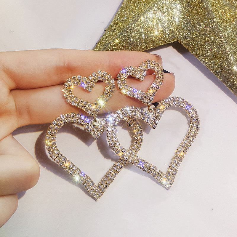 Dominated Exaggerated fashion crystal double heart earrings contracted joker long Women Drop earrings Jewelry(China)
