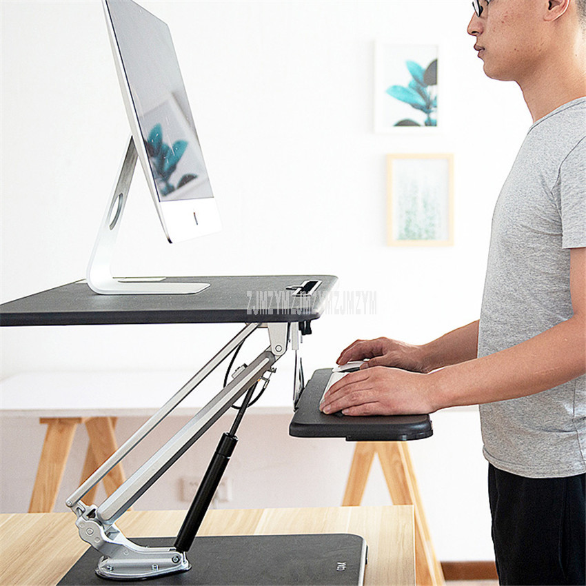 Sit/Stand Operation Computer Desk Height Liftable Correct Posture Foldable Computer Table Stand Tray Stronger Steel Metal Base