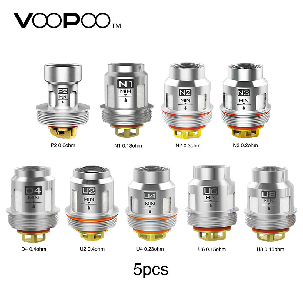 5Pcs VOOPOO Uforce U2 U4 N1 N2 N3 P2 შეცვლა Coil Core Core Head Fit Voopoo Uforce სატანკო Voopoo Drag 2 Voopoo Drag mini Vape KIt