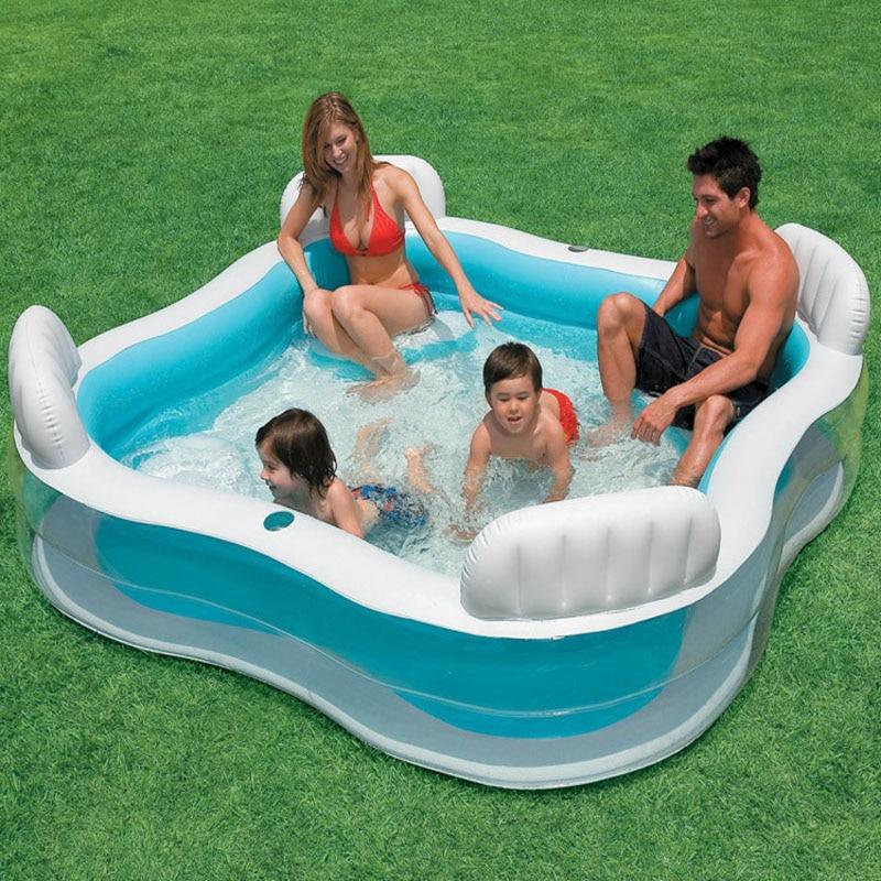 INTEX 229*229*66 CM dossier siège pataugeoire surdimensionné famille gonflable piscine enfants Marine Ball piscine avec pompe
