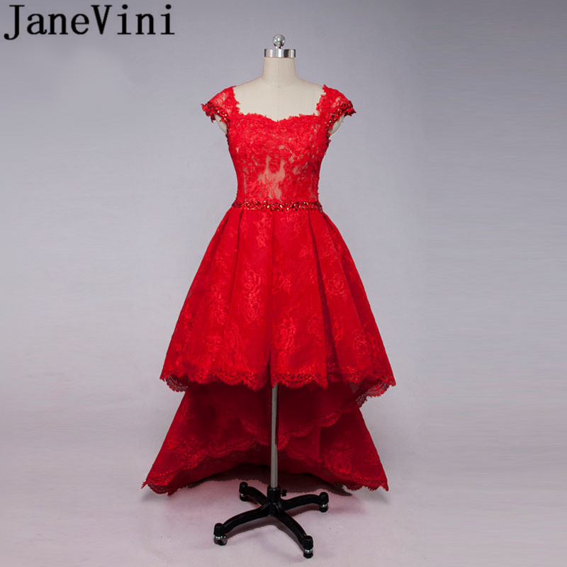 JaneVini Arabic Red Lace   Bridesmaid     Dresses   With Crystal High Low Short Front Long Back Beaded Wedding   Dress   Party Women Gowns