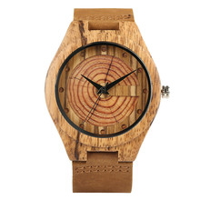 Wood Watch Men's Quartz Wristwatch Annual Rings Novel Design Genuine Leather Wooden Watches Casual New Arrival 2018 Clock Gifts