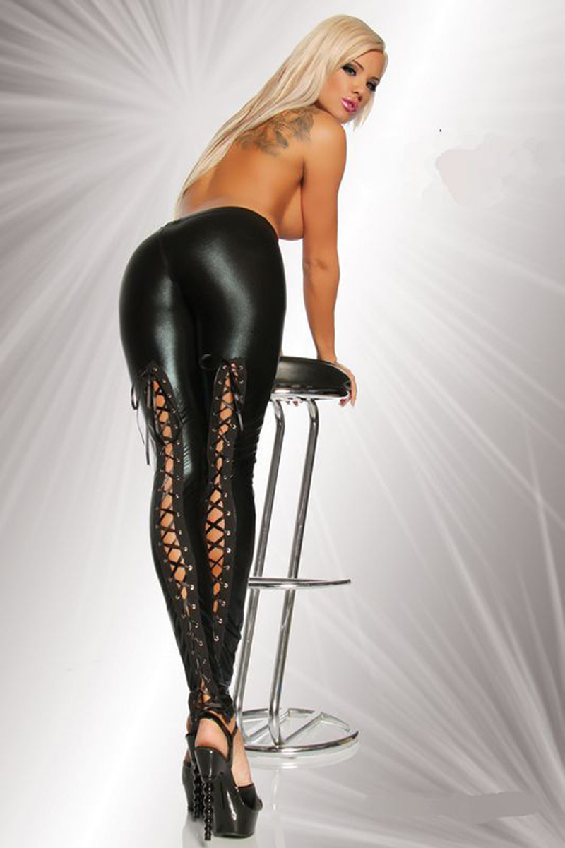 Sexy lace up gothic lace up high waist leggings trousers