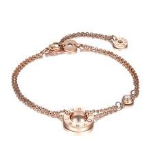 Titanium Steel Girls Bracelet Anklet Dual Use Rose Plating Gold White Zirconium Double