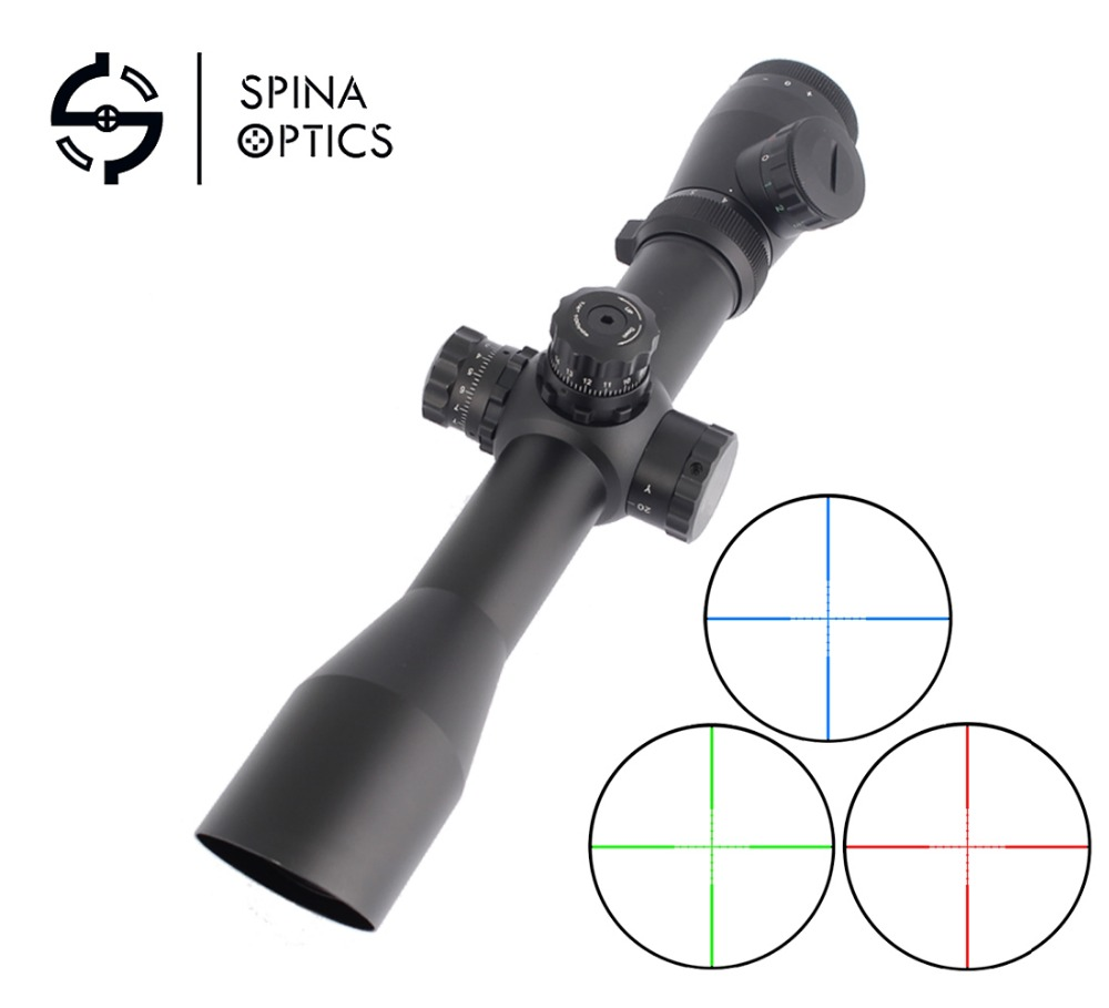 SPINA OPTICS M4 4-12X40E Tactical Optics Riflescope Red&Green Dot Reticle Fiber Sight Rifle Scope 30mm Tube compact m7 4x30 rifle scope red green mil dot reticle with side attached red laser sight tactical optics scopes riflescope