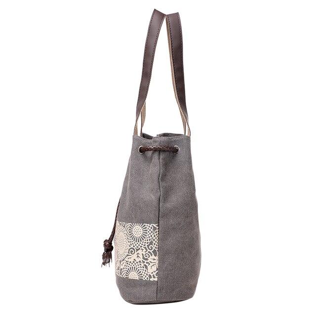 Women Floral Canvas Bucket Casual Shoulder Bag Spanish Beach Bags Women String Shopping Handbags Lace Printing Bag Female Bolso