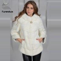 Furealux натуральный норковый мех пальто стоячий воротник Короткие натуральные норковые шубы натуральная Меховая куртка роскошная женская зи
