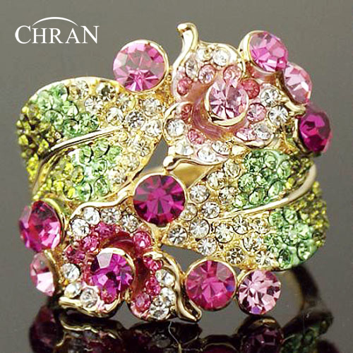 Chran New Wholesale Rose Gold Color Vintage Flower Party Rings For Women Best Wedding Jewelry Gifts Free Shipping
