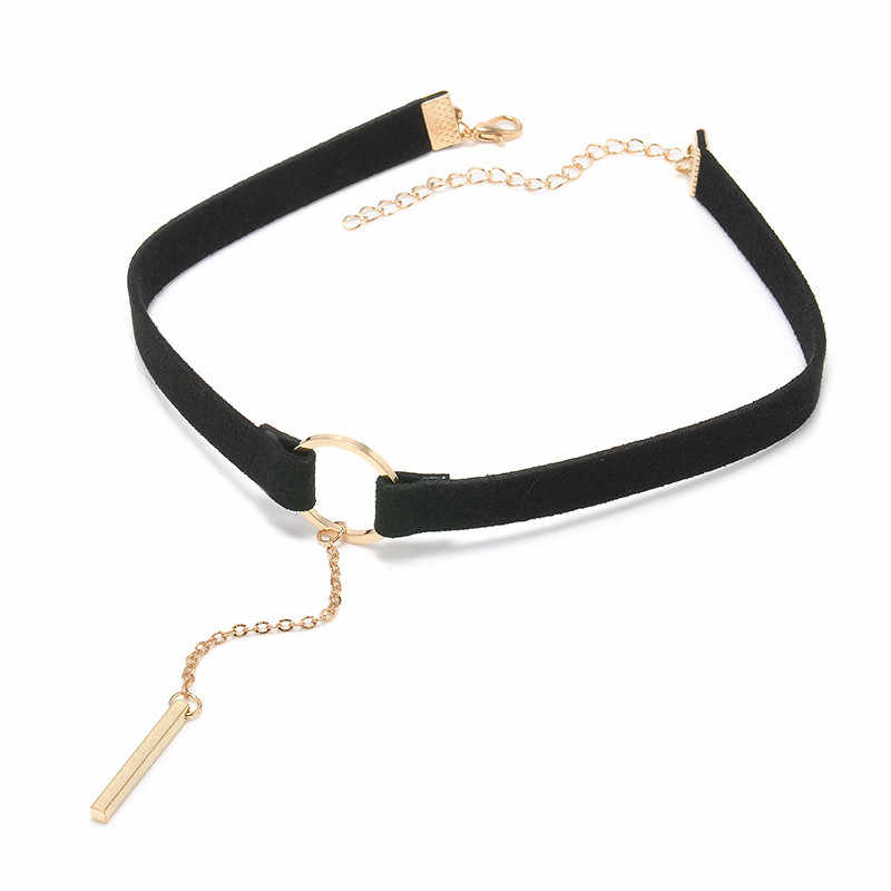 ZOEBER 8 CÁI Set New Gothic Tattoo Da Choker Necklaces đặt Đen leather vòng cổ lô cổ boho rope chain Hollow đồ trang sức