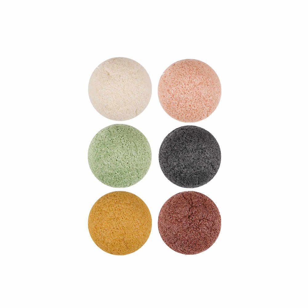 6pcs Natural Konjac Sopro de Cosméticos Esponja de Maquiagem Ferramenta de Beleza Suave de Limpeza Facial de Limpeza de Carvão de Bambu Essencial Konnyaku