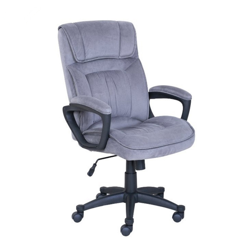 Executive Office Chair in Velvet Microfiber With Nylon Casters Office Furniture Computer Desk Task Ergonomic Boss Chair For Home home office computer desk massage chair with footrest reclining executive ergonomic vibrating office chair furniture