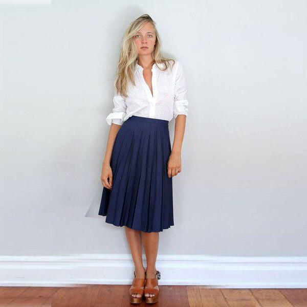Navy A Line Midi Skirt