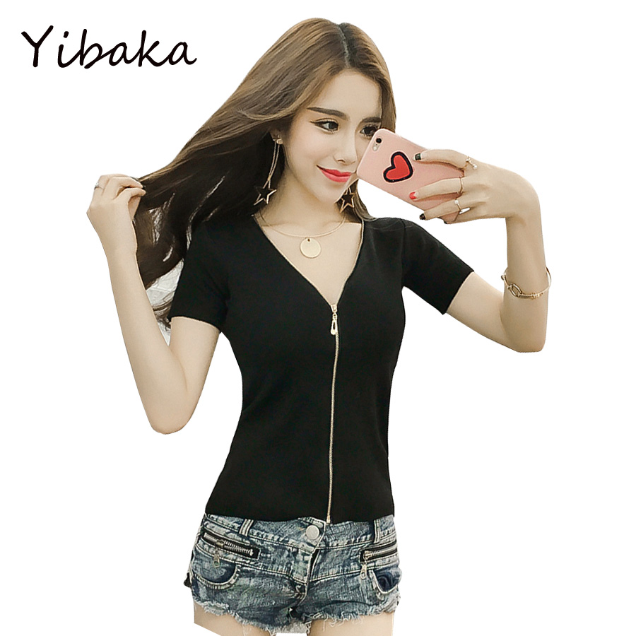Yibaka 2017 summer pattern sexy knitted S V neck was thin knitted ...