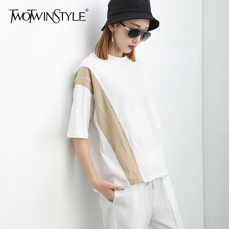 TWOTWINSTYLE Patchwork T-shirt Femmes O Cou À Manches Courtes Oversize Blanc T Shirt Tops D'été De Mode Femme 2018 Nouveaux Vêtements