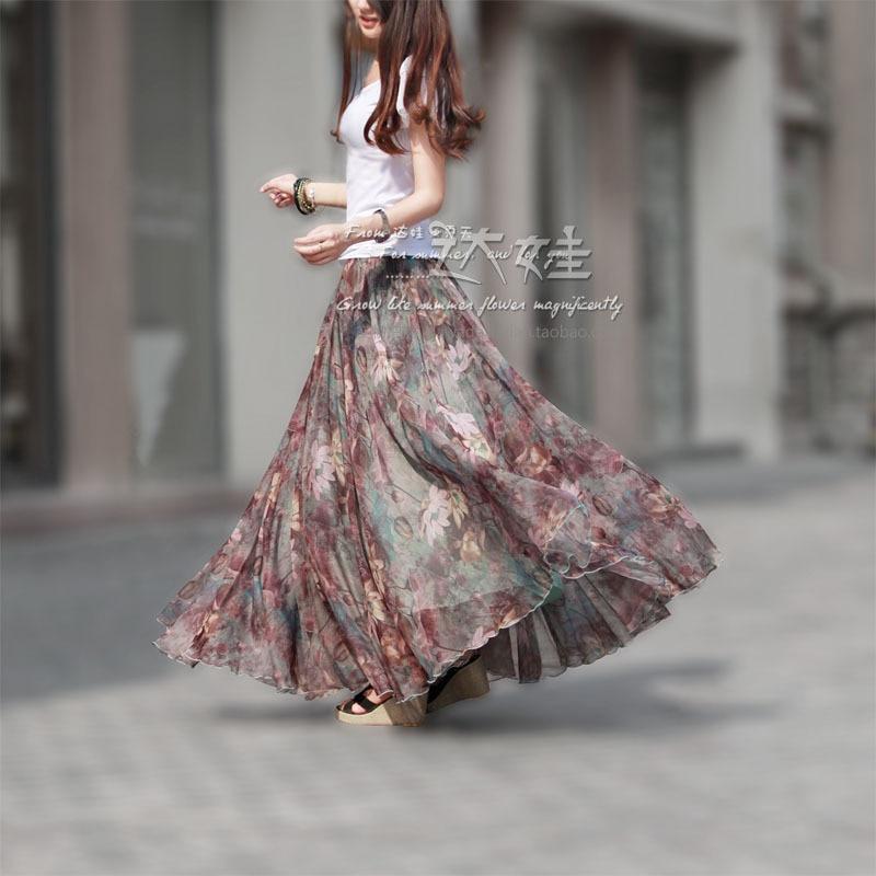 Long Floral Skirts Womens Holiday Beach Boho Skirt 2018 Women Summer Long Skirts Elegant Ladies Maxi Chiffon Skirt