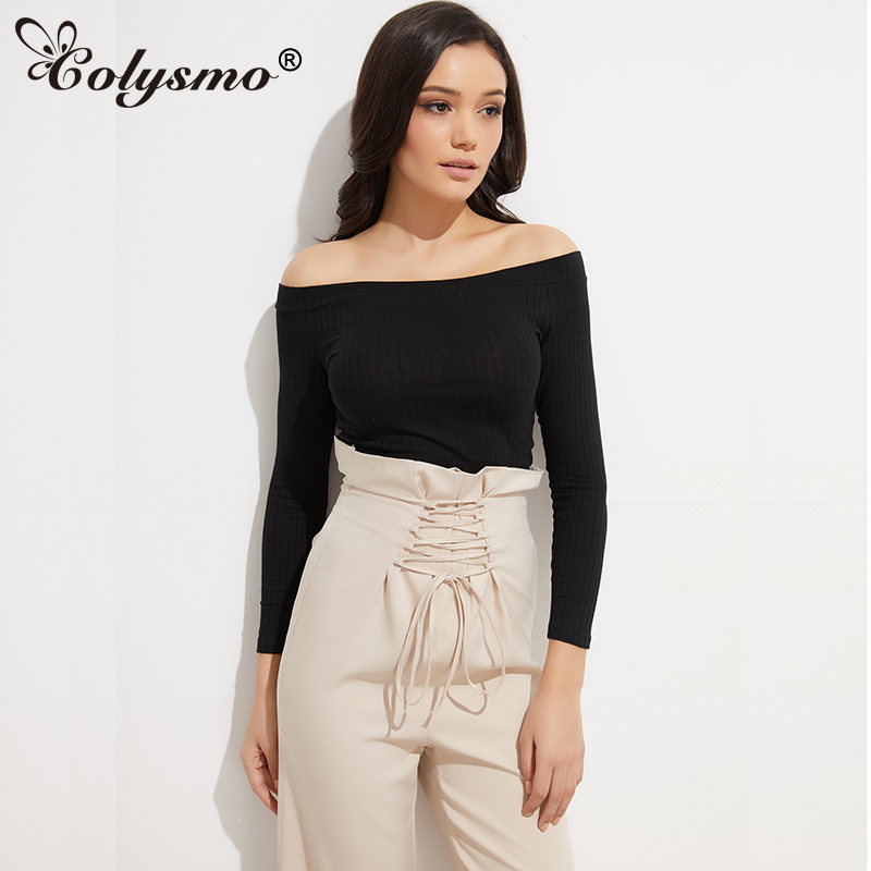 Colysmo Long Sleeve Crop Top Sexy Off Shoulder Dames T-shirt Sweater Tops Winter Pullover Crop Tops Casual T-shirts Wit Zwart