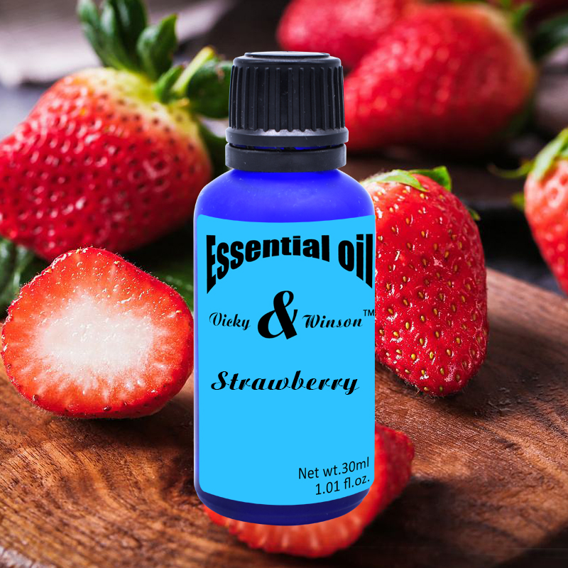 Vicky&winson Strawberry Aromatherapy Essential Oils 30ml Aroma Lamps Office Humidifiers Automotive Replenisher Deodorization