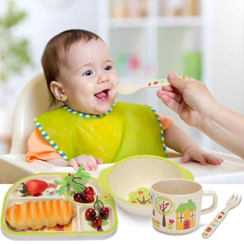 5 ชิ้น/เซ็ตเป็นมิตรกับสิ่งแวดล้อมไม้ไผ่เด็กถ้วยจานชามช้อนจาน 4 ช่องใส่เด็กชุดเด็กทารกจานอาหารเย็น
