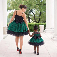 emerald green with ostrich fur bow little kids baby birthday party dresses ball gown short girl black tulle prom evening gown