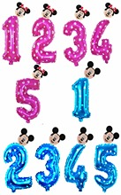 32 inch Pink Blue Red Black Number foil Balloons Mickey Minnie Balloon figure 1 2 3 4 5 year kid boy girl Birthday Party decor