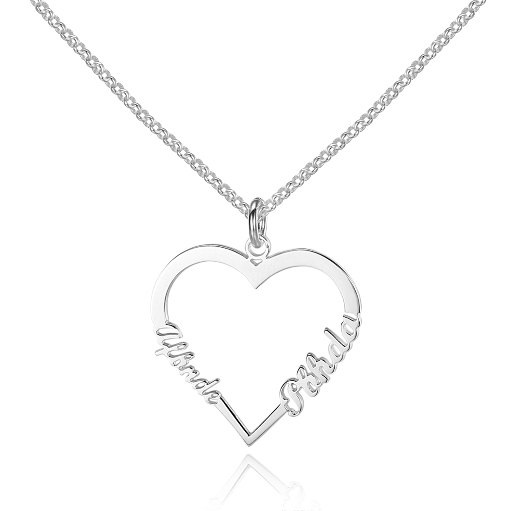 купить Women Personalized 925 Sterling Silver Name Necklace Pendant Heart Shape Fine Jewelry Lovers Gift (NE101565) по цене 1529.26 рублей