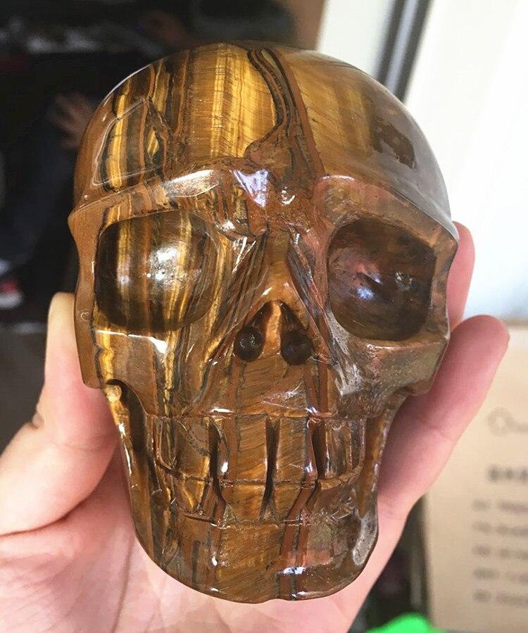 790g Natural Crystal tiger eye crystal skull healing top quality tiger eye quartz stone skull for