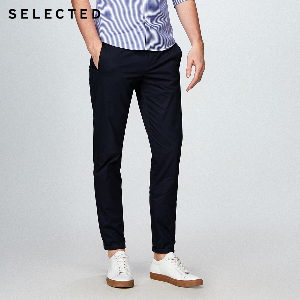 SELECTED  cotton business leisure straight leg long pants S4182W2511-in Casual Pants from Men's Clothing